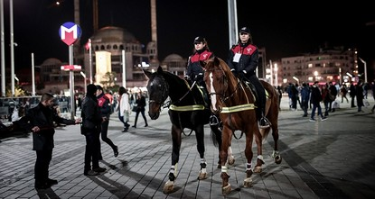 Mounted police ensure safe New Year at Taksim Square