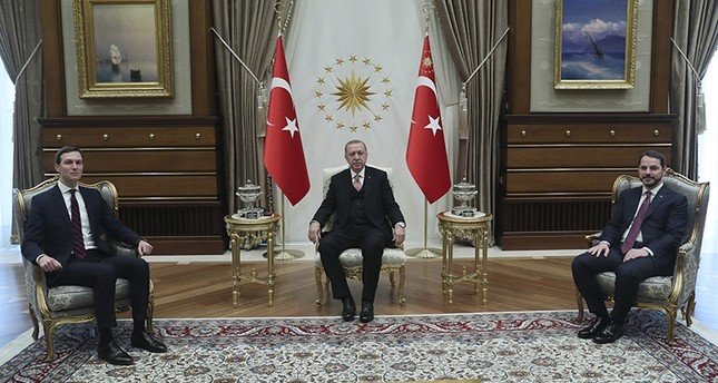 President Recep Tayyip Erdoğan (C) accompanied by Economy Minister Berat Albayrak (R) meets with Jared Kushner, left, U.S. President Donald Trump's adviser and son-in-law, at the Presidential Complex in Ankara on Feb. 27, 2019. (AP Photo)