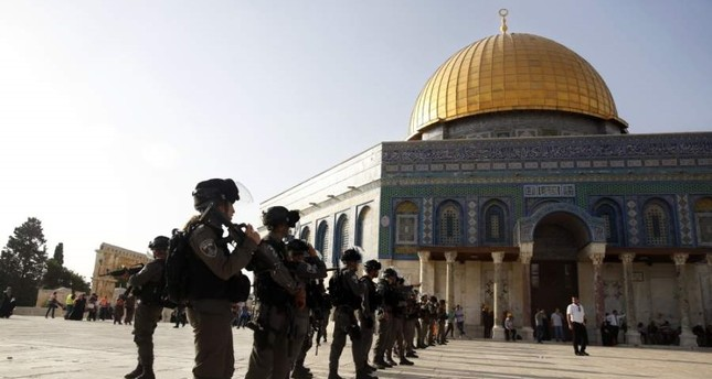 Israeli police stand guard in front of the Dome of the Rock located in the Al-Aqsa Mosque compound, Jerusalem's Old City, July 27, 2017. (AP Photo)