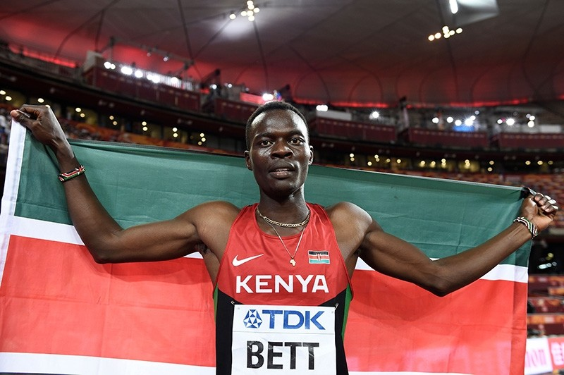 In this file photo taken on Aug. 25, 2015 Kenya's Nicholas Bett celebrates winning the final of the men's 400 metres hurdles athletics event at the 2015 IAAF World Championships at the ,Bird's Nest, National Stadium in Beijing. (AFP Photo)