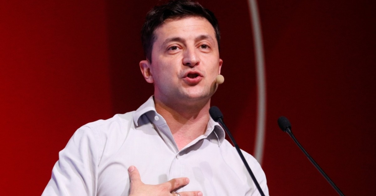 Ukraine's President Volodymyr Zelenskiy delivers a speech during an IT conference in Kiev, Ukraine May 23, 2019. (AP Photo)
