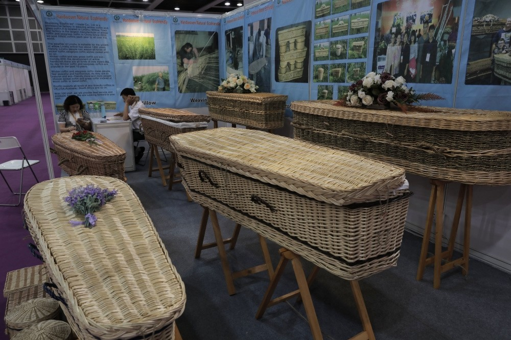 Wicker and seagrass coffins are displayed at the Asia Funeral and Cemetery Expo & Conference in Hong Kong.
