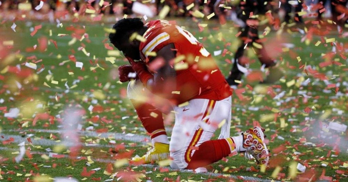 Kansas City Chiefs' Khalen Saunders reacts after the game, Miami, Feb. 2, 2020. (AP Photo)