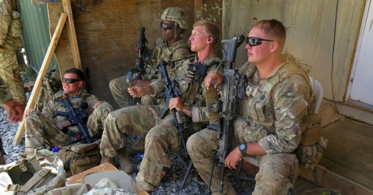 U.S. military advisers from the 1st Security Force Assistance Brigade sit at an Afghan National Army base in Maidan Wardak province, Afghanistan, Aug. 6, 2018. (Reuters Photo)