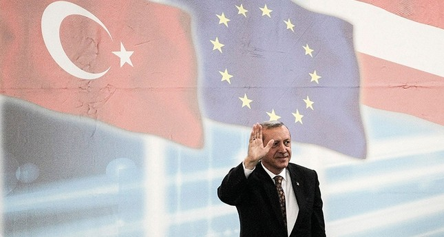 In this file photo taken on June 19, 2014, then-PM Recep Tayyip Erdoğan gestures prior to give a speech during an event to mark the 10th anniversary of the Union of European Turkish Democrats UETD at the Albert Schultz Hall in Vienna AFP Photo