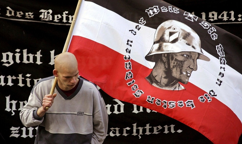 A supporter of Germany's far-right National Democratic Party at a Berlin rally.