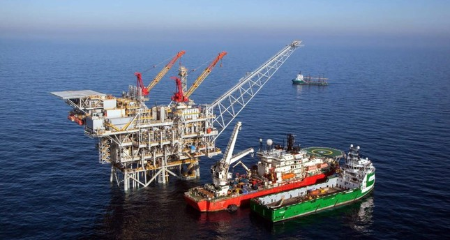 An undated handout picture shows an aerial view of the Israeli gas rig 'Tamar' which is located about 90 km off the Israeli coast.