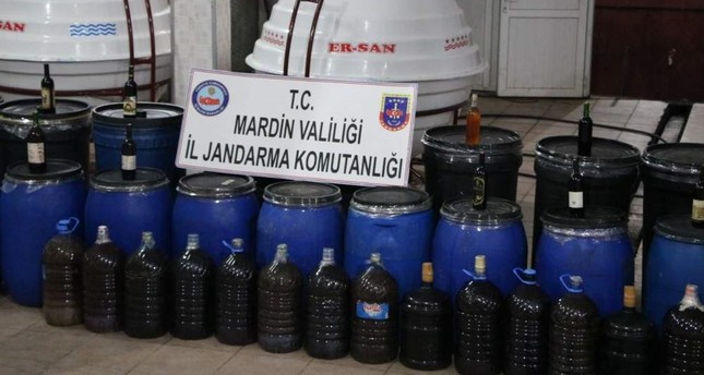 Security forces seized over 117 tons of bootleg liquor in an operation in southeastern Turkey's Mardin province. DHA Photo
