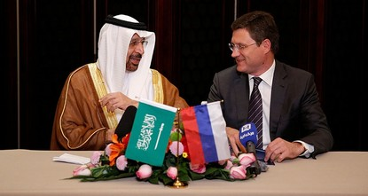 pSaudi Arabia and Russia, the world's top two oil producers, agreed on Monday on the need to extend output cuts for a further nine months until March 2018 to rein in a global crude glut, pushing up...
