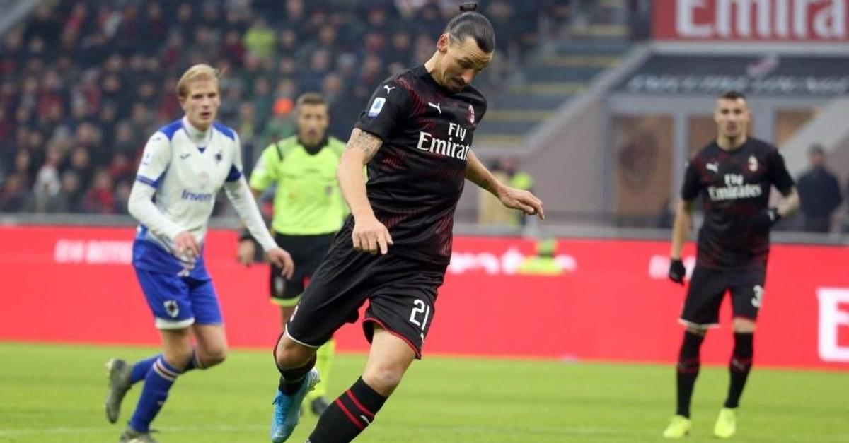 Ibrahimovic in action during the match against Sampdoria in Milan, Jan. 6, 2020. (EPA Photo)