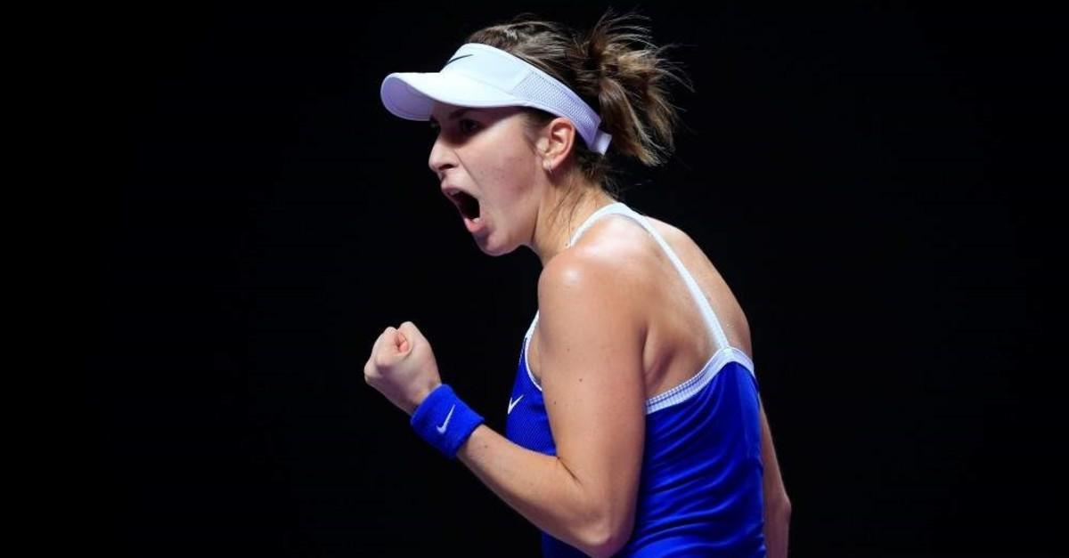 Belinda Bencic celebrates during her match against Kiki Bertens, Shenzhen, Oct. 31, 2019. (REUTERS Photo)