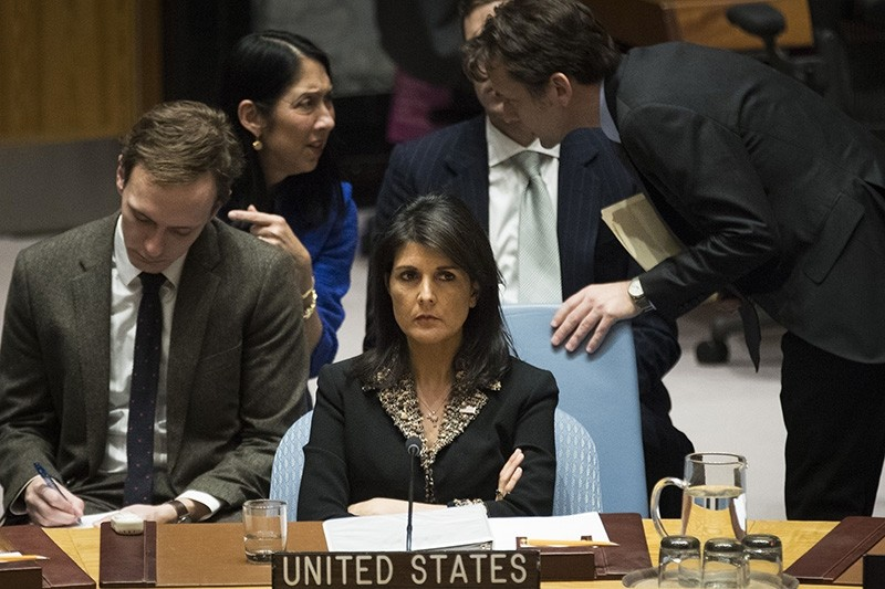 U.S. ambassador to the United Nations Nikki Haley listens during a Security Council meeting concerning the situation in the Middle East involving Israel and Palestine, at United Nations headquarters (AFP Photo)