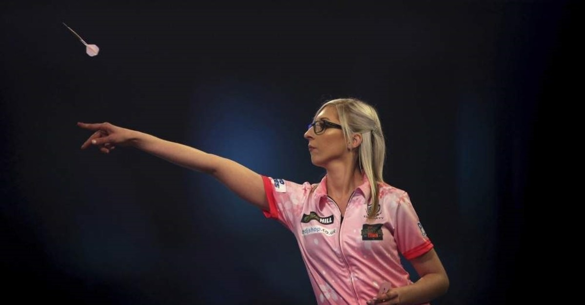 Sherrock in action at the PDC Darts World Championship in London, Dec. 17, 2019. (AP Photo)