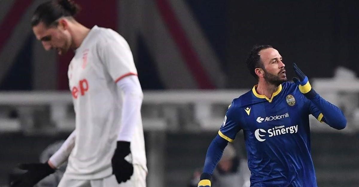 Verona's Pazzini (R) celebrates after scoring a goal against Juventus, Feb. 8, 2020. (AFP Photo)