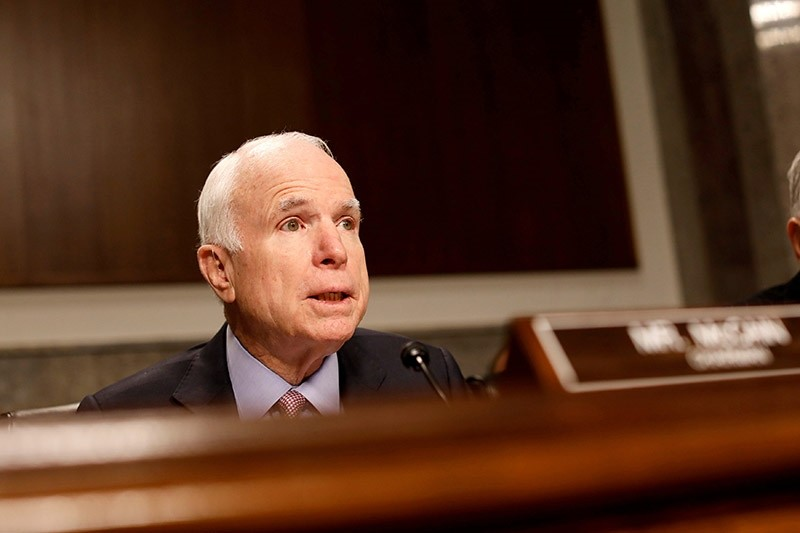 Committee chairman Senator John McCain (R-AZ) asks a question during a Senate Armed Services Committee hearing on the Marines United Facebook page on Capitol Hill in Washington, D.C. (Reuters Photo)