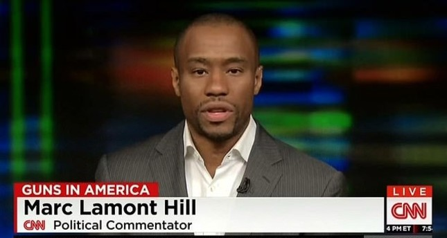 Professor Marc Lamont Hill, a Temple University professor and a commentator for CNN, delivers a speech on a live CNN program.