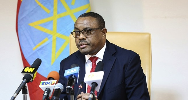 Former Ethiopian Prime Minister Hailemariam Desalegn, during press conference in Addis Ababa, Ethiopia, Thursday, Feb. 15, 2018. (AP Photo)