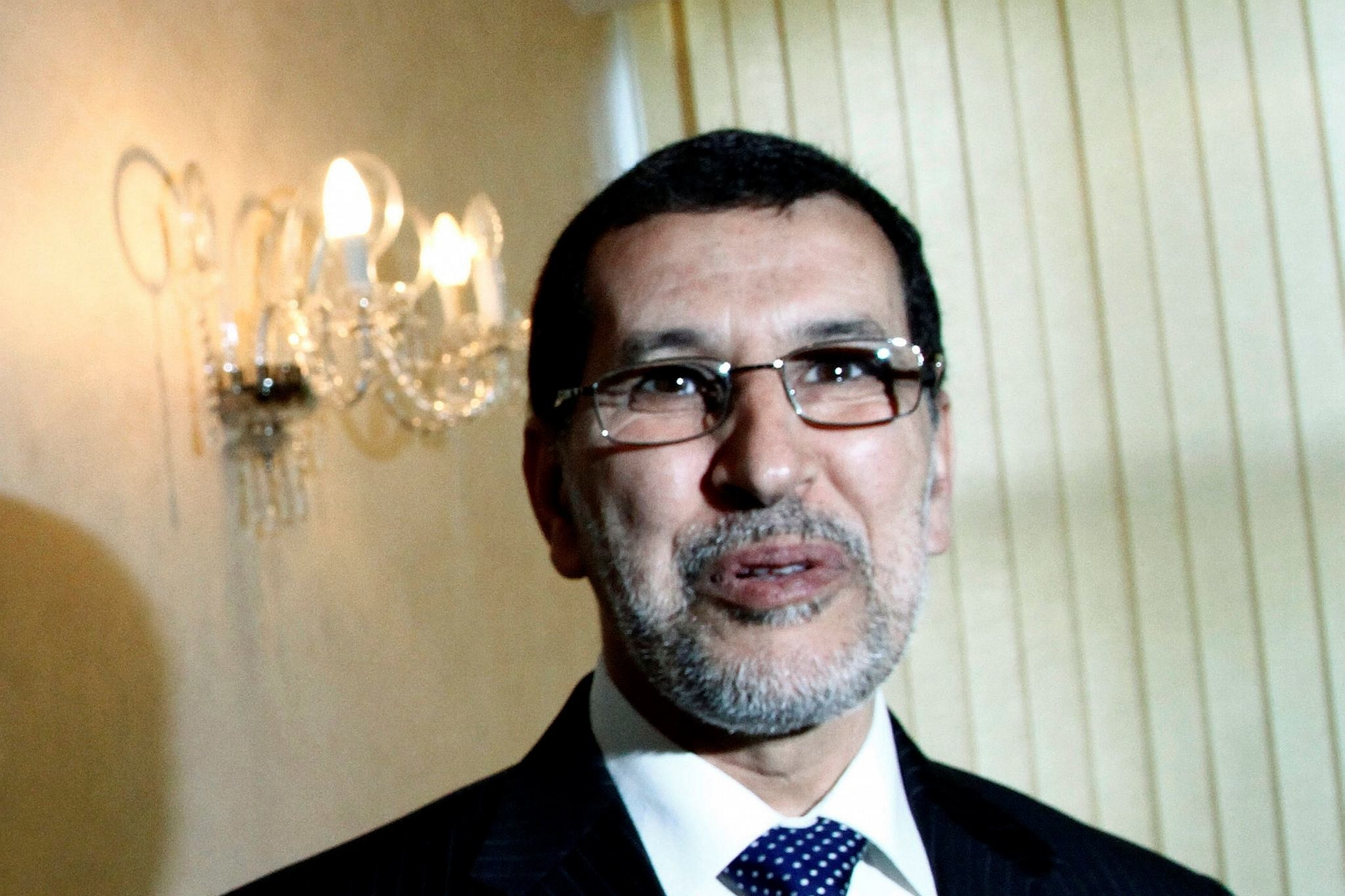 Then Moroccan Foreign Minister Saadeddine Othmani is pictured in Rabat, Morocco.  (AP Photo)