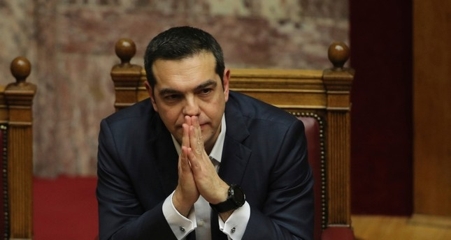 Greek Prime Minister Alexis Tsipras, attends a parliamentary session in Athens, on Wednesday, Jan. 16, 2019. (AP Photo)