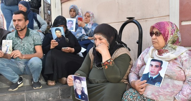 Families stage a sit-in protest in front of HDP headquarters in Diyarbakır against the PKK terrorist group's abduction of their children, Sept. 10, 2019.