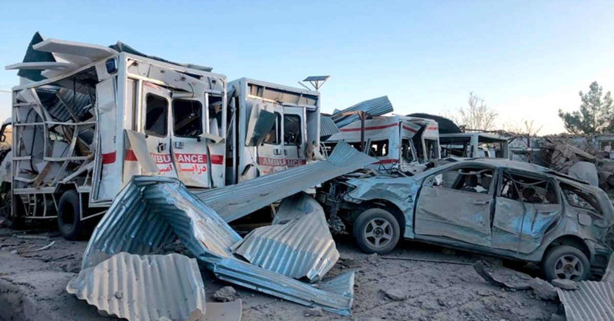 Damaged cars are seen at the site of a suicide attack in Zabul, Afghanistan, Thursday, Sept. 19, 2019 (AP Photo)