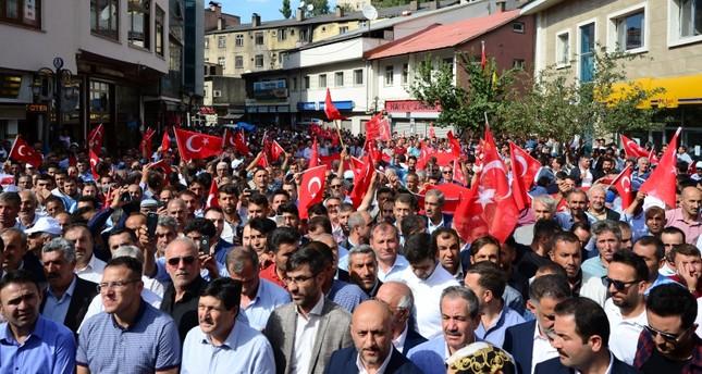 """مسيرات في عدد من الولايات التركية للتنديد بأعمال """"بي كا كا"""" الإرهابية"""