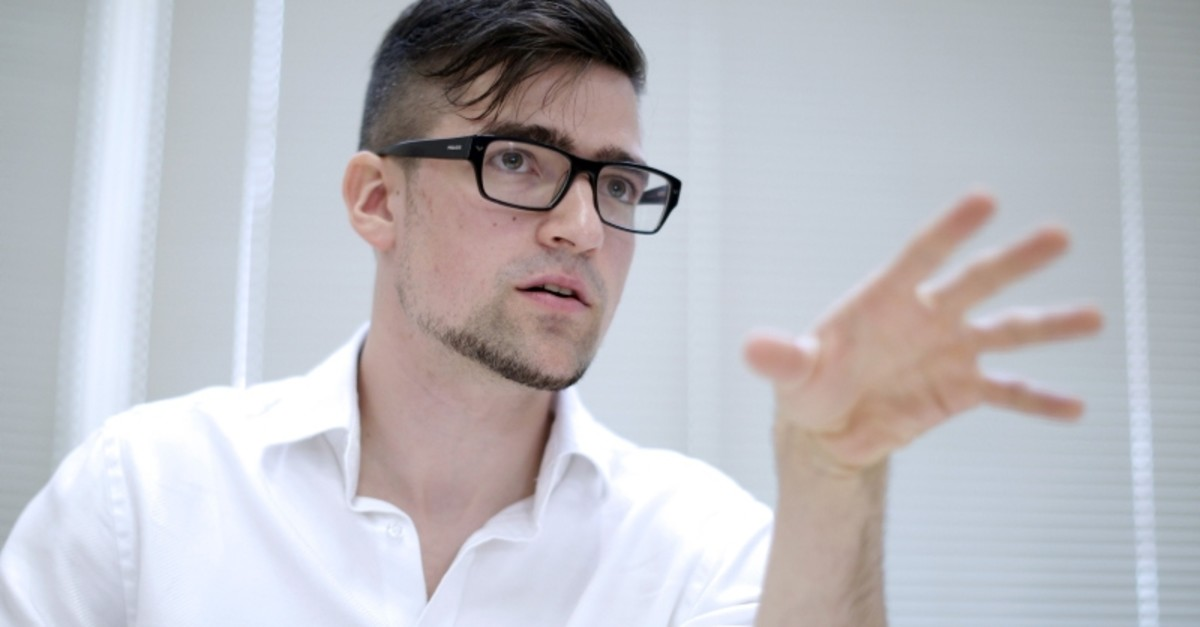 A file picture taken on May 23, 2014 shows the local leader of the Identitarian Movement (IBOe) far right group, Martin Sellner during a press conference in Vienna, Austria. (AFP Photo)