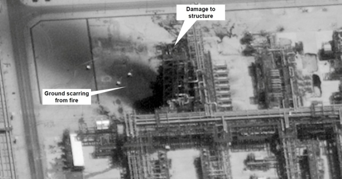 A satellite image showing damage to oil/gas Saudi Aramco infrastructure at Khurais, in Saudi Arabia in this handout picture released by the U.S Government September 15, 2019. (Reuters Photo)