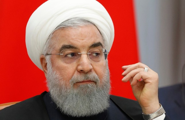 Iranian President Hassan Rouhani speaks during a meeting in the Bocharov Ruchei residence in the Black Sea resort of Sochi, Russia, Thursday, Feb. 14, 2019. (AP Photo)