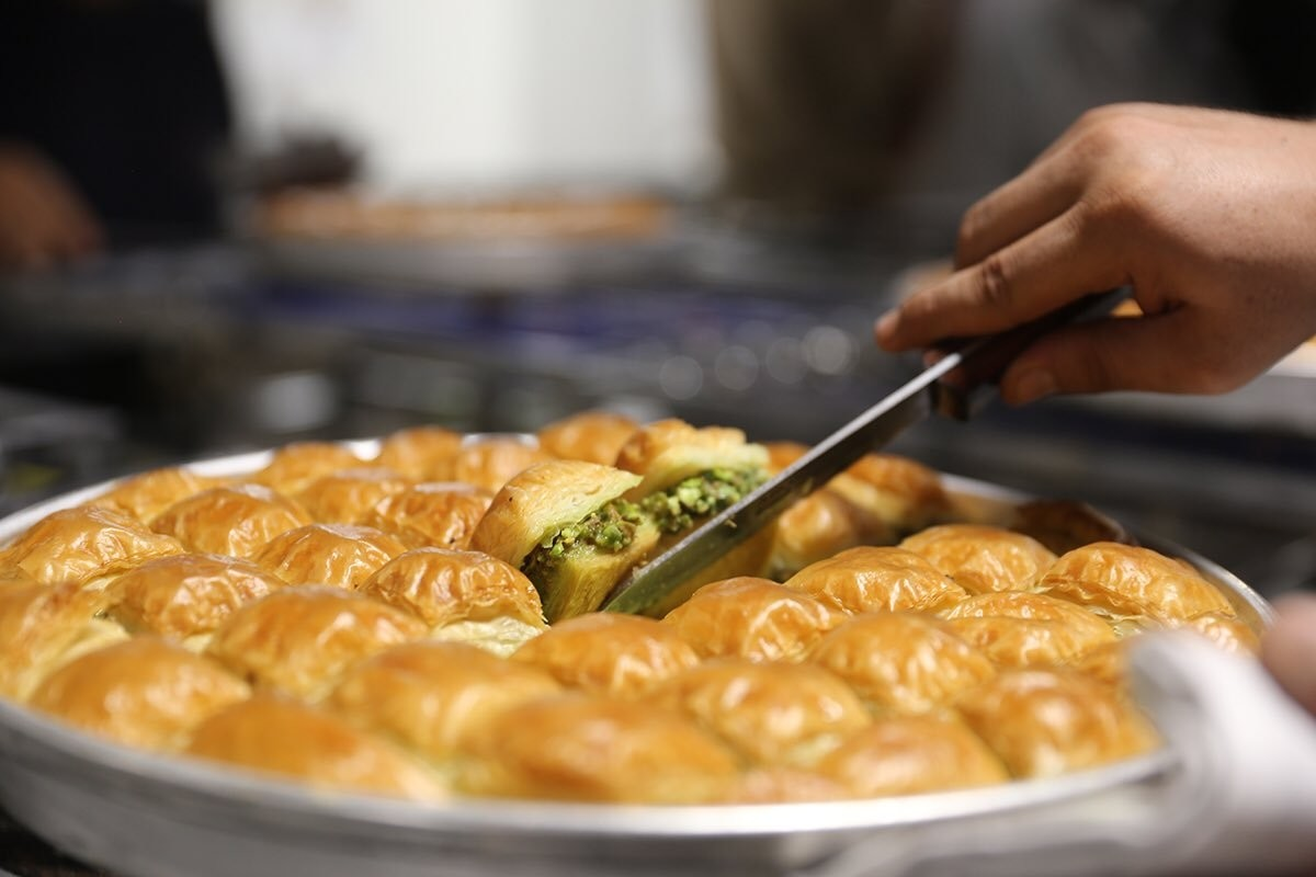 Gaziantepu2019s world famous dessert dish, pistachio baklava.