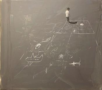 Nowhere 4 (2019) by Sidar Baki, acrylic on canvas, 110×126 cm.