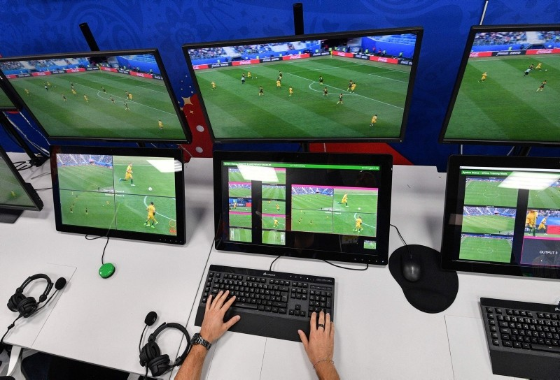 This file photo taken on June 9, 2018 shows a video assistant refereeing (VAR) operation room at the 2018 FIFA World Cup Russia International Broadcast Centre (IBC) in Moscow. (AFP Photo)