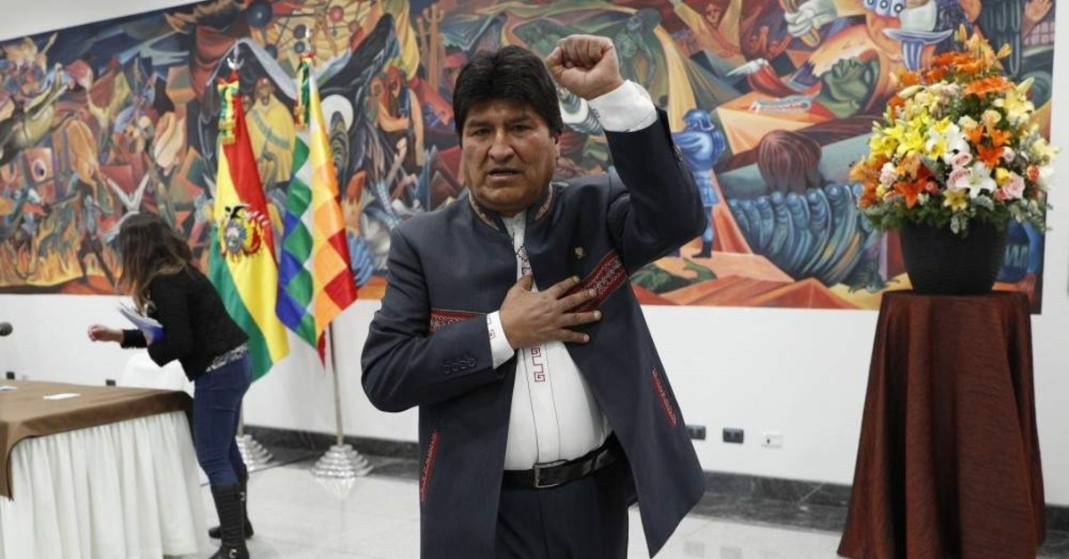 Bolivia's President Evo Morales leaves after a press conference, La Paz, Oct. 24, 2019. (AP Photo)