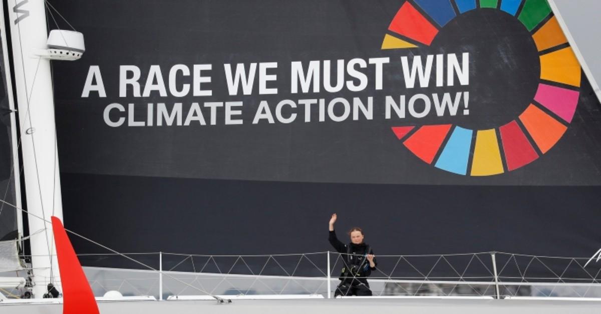 16-year-old activist Greta Thunberg sails on the Malizia II racing yacht in New York Harbor  (Reuters Photo)