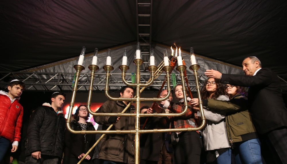 Jewish community members lit candles at a park in Istanbul's Niu015fantau015fu0131 neighborhood on Dec. 9 to mark the end of Hanukkah.