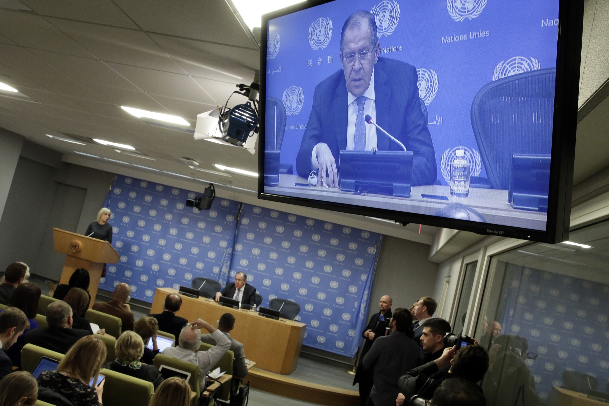 Russia's Foreign Minister Sergei Lavrov, displayed on a monitor, speaks during a news conference at United Nations headquarters, Friday, Jan. 19, 2018. (AP Photo)