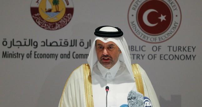 Qatari Economy and Commerce Sheikh Ahmed bin Jassim bin Mohammed al Thani speaks at Turkey-Qatar business forum in western Turkish province of Izmir on August 3, 2017. (AA Photo)