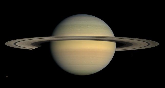 This July 23, 2008 image made available by NASA shows the planet Saturn, as seen from the Cassini spacecraft. (AP Photo)