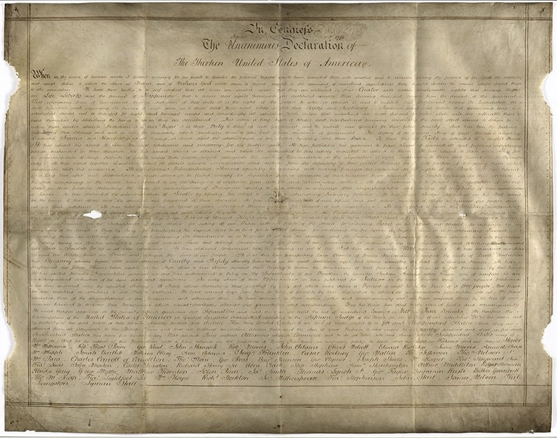 Undated handout photo of a parchment manuscript of the US Declaration of Independence, believed to date from the 1780s and found in a records office in Chichester, southern England. (AP Photo)