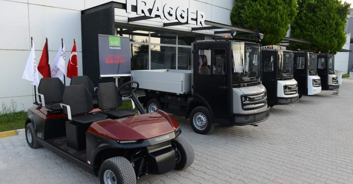 Some of the electric utility vehicles produced domestically by Turkish manufacturer TRAGGER in Bursa. (AA Photo)