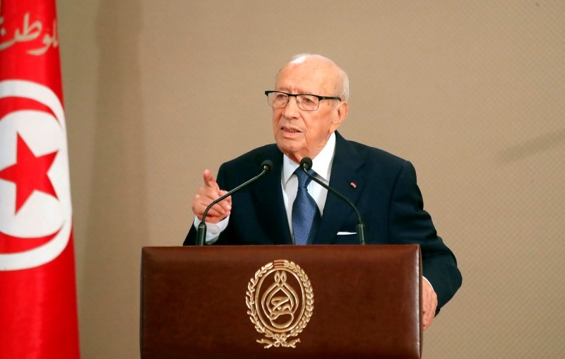 A handout picture provided by the Tunisian Presidency Press Service on August 13, 2018 shows Tunisian President Beji Caid Essebsi delivering a speech in Tunis. (AFP Photo)