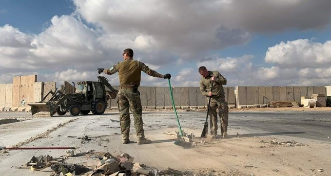 U.S. soldiers clears rubble at Ain al-Asad military airbase in the western Iraqi province of Anbar, Jan. 13, 2020. AFP Photo