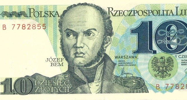 Polish national hero Jozef Bem on a 10 zloty banknote issued in 1950.