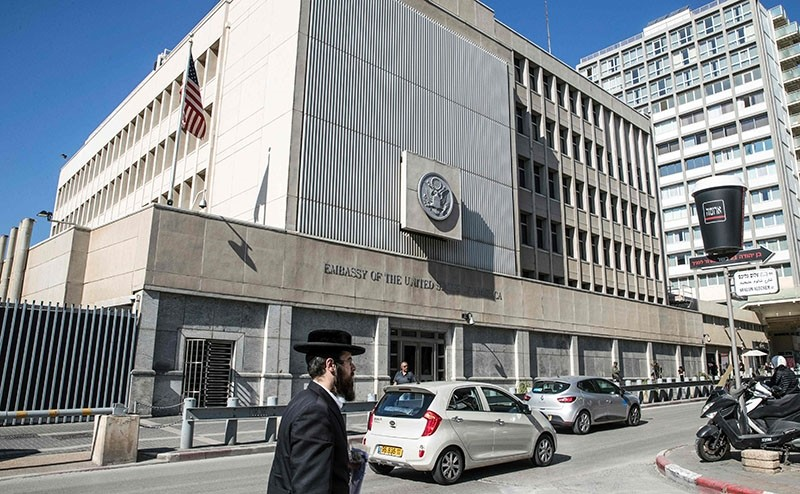 This file photo taken on January 20, 2017, shows the exterior of the US Embassy in the Israeli coastal city of Tel Aviv. (AFP Photo)