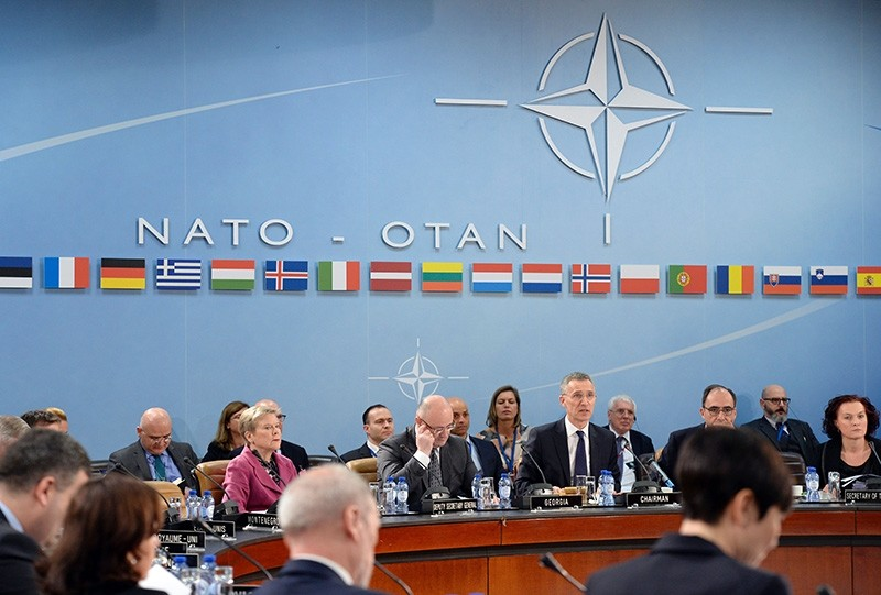 NATO Secretary General Jens Stoltenberg (C) speaks during the NATO-Georgia Commission at the NATO headquarters in Brussels on February 16, 2017. (AFP Photo)