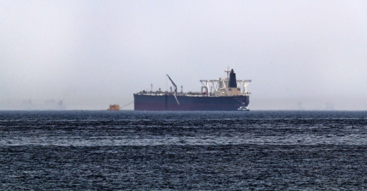 A picture taken on May 13, 2019, shows the crude oil tanker, Amjad, which was one of two reported tankers that were damaged  in mysterious ,sabotage attacks,, off the coast of the Gulf emirate of Fujairah (AFP Photo)