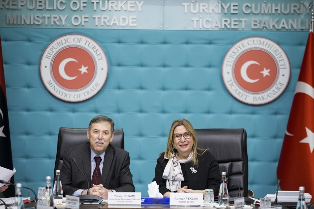 The Turkish-Libyan Contracting Joint Working Group's meeting was held under the chair of Trade Minister Ruhsar Pekcan (R) and Planning Minister of Libyan Government of National Accord Taher al-Jehaimi in Ankara, Jan. 31, 2019.