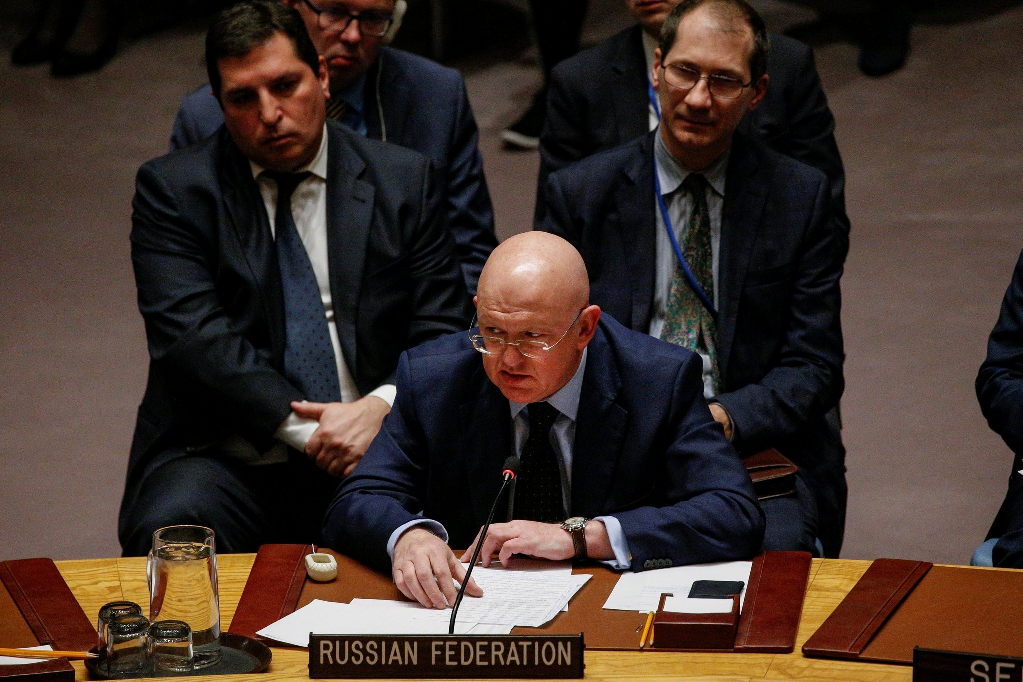 Russian Ambassador to the United Nations Vasily Nebenzya addresses the United Nations Security Council about an international inquiry into chemical weapons attacks in Syria. (REUTERS Photo)