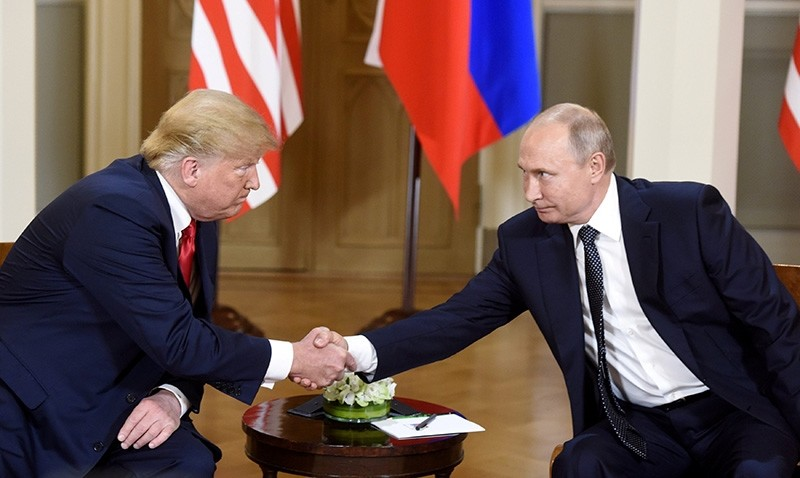 U.S. President Donald Trump shakes hands with Russia's President Vladimir Putin during a meeting in Helsinki, Finland July 16, 2018. (Reuters Photo)