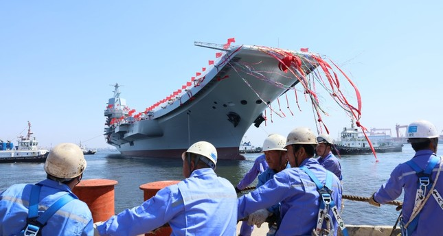 China's first domestically built aircraft carrier is seen during its launching ceremony in Dalian.
